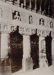 Pillars inside Cave No 19, [Ajanta]